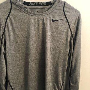 Nike Pro Gray  compression mesh back men's small